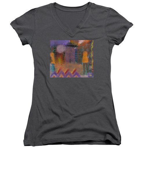 Women's V-Neck T-Shirt (Junior Cut) featuring the painting Best Friends by Angela L Walker