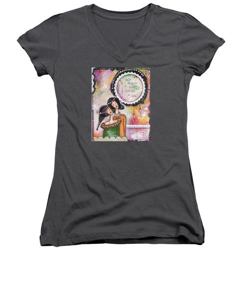 Women's V-Neck T-Shirt (Junior Cut) featuring the mixed media Best Friends By Heart, Sisters By Soul by Stanka Vukelic