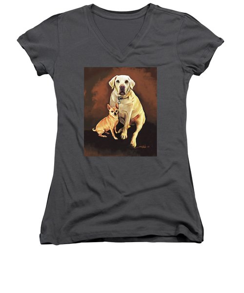 Best Friends By Spano Women's V-Neck T-Shirt (Junior Cut) by Michael Spano