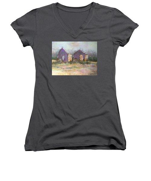 Women's V-Neck T-Shirt (Junior Cut) featuring the pastel Bethel School At Sunset by Rebecca Matthews
