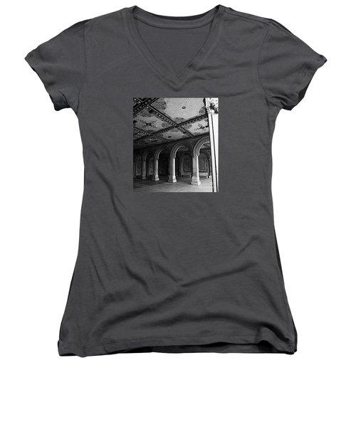 Bethesda Terrace Arcade In Central Park - Bw Women's V-Neck T-Shirt (Junior Cut) by James Aiken