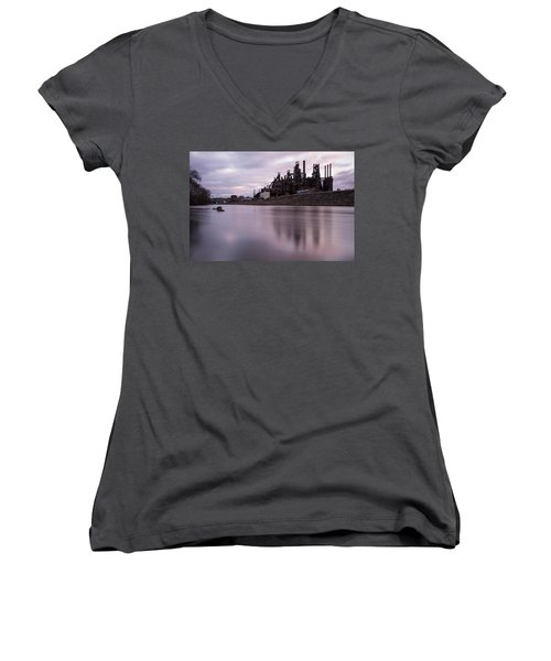 Bethlehem Steel Sunset Women's V-Neck