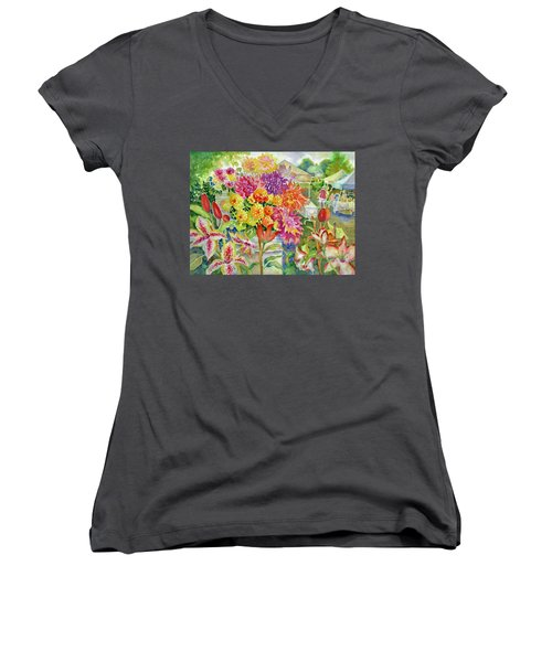 Betsy's Dahlias II Women's V-Neck (Athletic Fit)