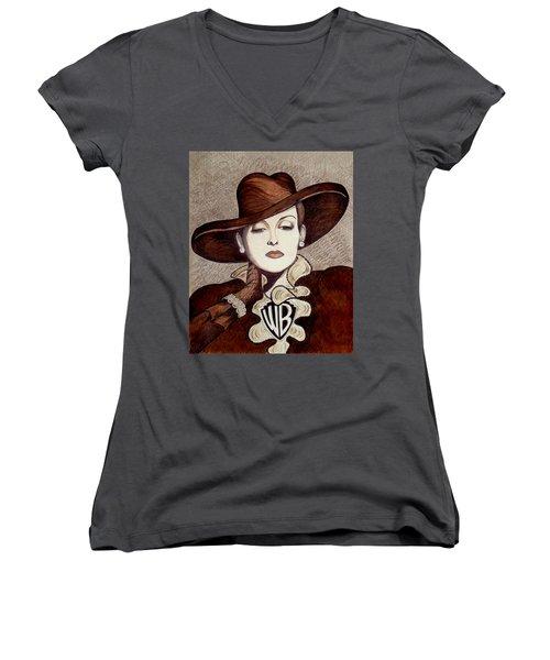 Bette Davis The Warner Brothers Years Women's V-Neck T-Shirt (Junior Cut) by Tara Hutton