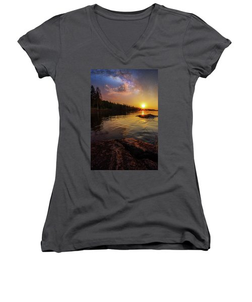 Between Heaven And Earth Women's V-Neck T-Shirt (Junior Cut) by Rose-Marie Karlsen