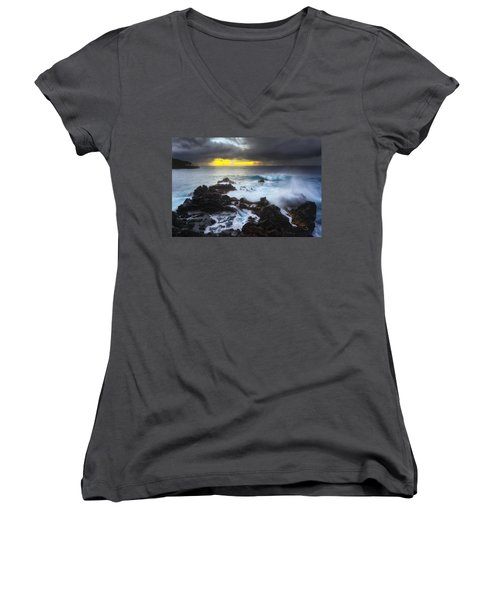 Women's V-Neck T-Shirt (Junior Cut) featuring the photograph Between Two Storms by Ryan Manuel