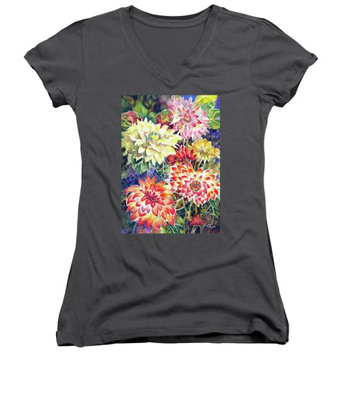 bety's Dahlias Women's V-Neck (Athletic Fit)