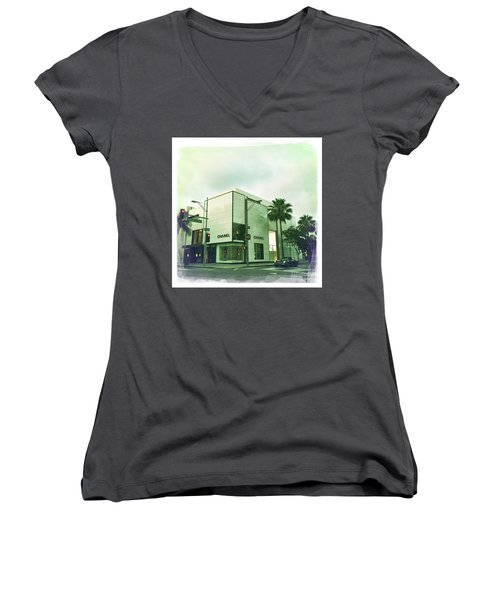 Beverly Hills Rodeo Drive 13 Women's V-Neck T-Shirt (Junior Cut) by Nina Prommer