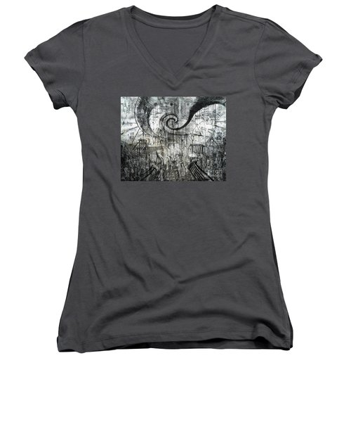 Women's V-Neck T-Shirt (Junior Cut) featuring the digital art Beware Of Darkness by Rhonda Strickland