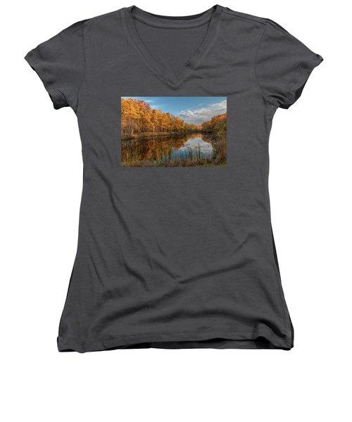 Beyer's Pond In Autumn Women's V-Neck