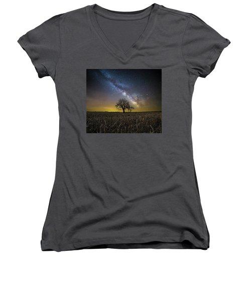 Women's V-Neck T-Shirt (Junior Cut) featuring the photograph Beyond by Aaron J Groen