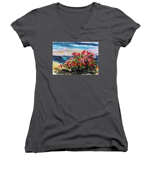Beyond Sea Roses Women's V-Neck (Athletic Fit)