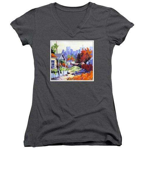 Women's V-Neck T-Shirt (Junior Cut) featuring the painting Beyond The City Limits by Rae Andrews