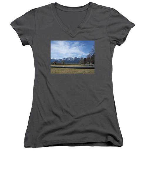 Women's V-Neck T-Shirt (Junior Cut) featuring the photograph Beyond The Field by Jewel Hengen