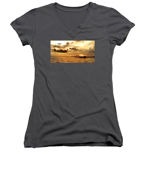 Bf 109 German Ww2 Women's V-Neck (Athletic Fit)