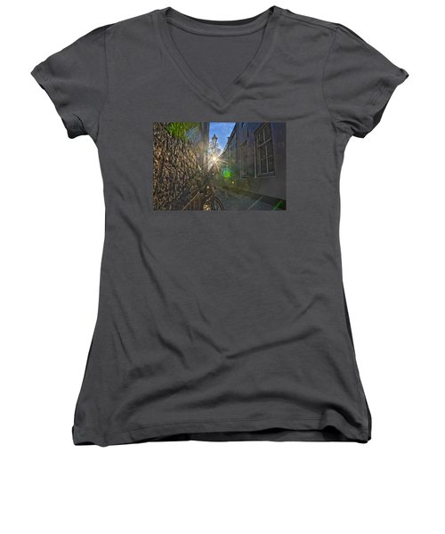 Bicycle Alley Women's V-Neck T-Shirt (Junior Cut) by Frans Blok