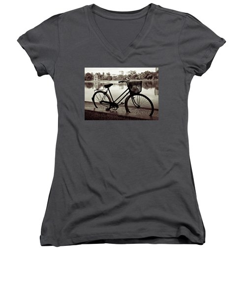 Bicycle By The Lake Women's V-Neck (Athletic Fit)