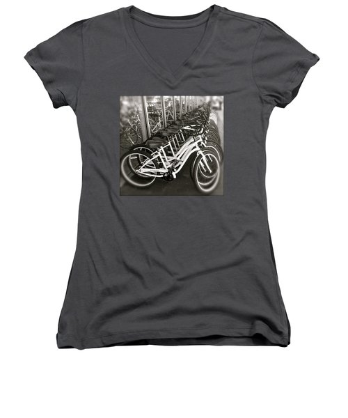 Bicycles In Belmont Shore Women's V-Neck (Athletic Fit)