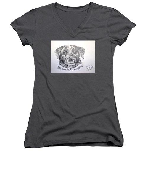Big Black Dog Women's V-Neck (Athletic Fit)