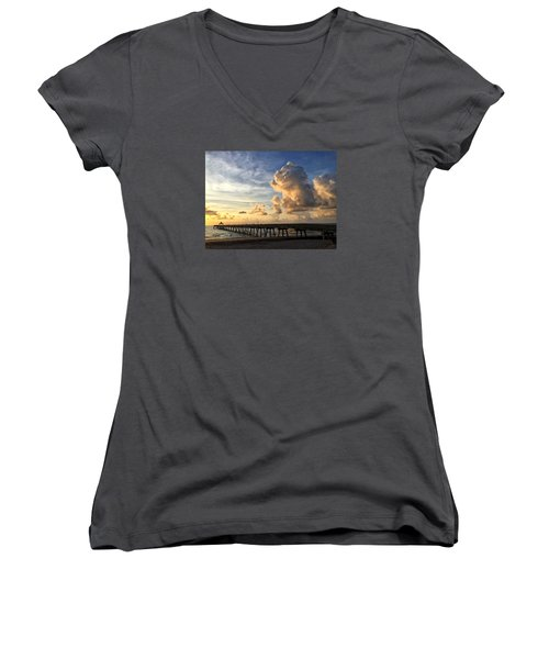 Big Cloud And The Pier, Women's V-Neck T-Shirt