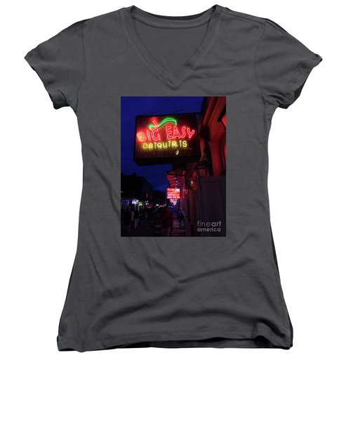 Women's V-Neck T-Shirt (Junior Cut) featuring the photograph Big Easy Sign by Steven Spak