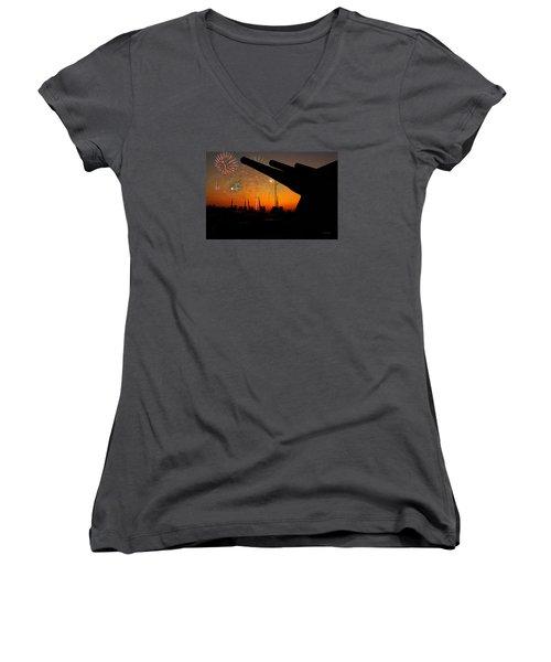 Big Guns Women's V-Neck T-Shirt (Junior Cut) by Denis Lemay