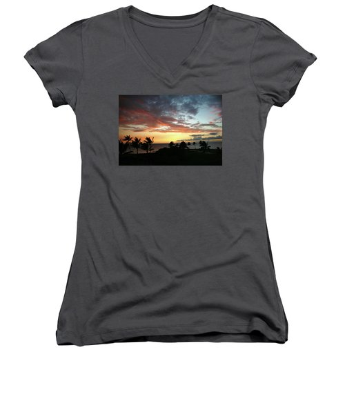 Women's V-Neck T-Shirt (Junior Cut) featuring the photograph Big Island Sunset #2 by Anthony Jones