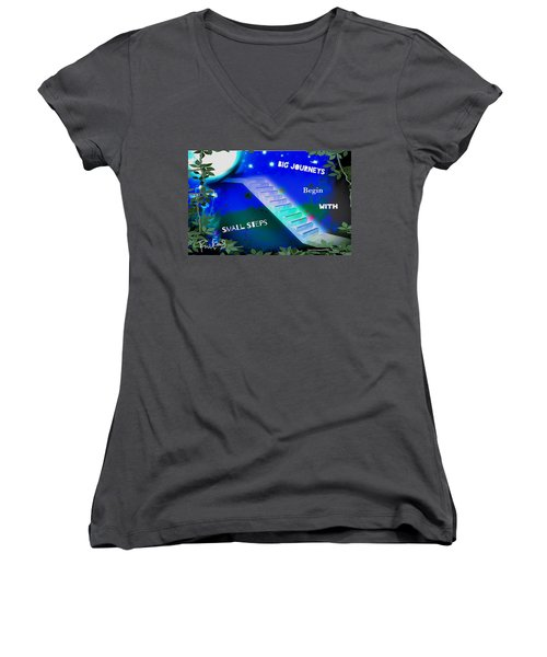 Women's V-Neck T-Shirt (Junior Cut) featuring the digital art Big Journeys......small Steps by Diana Riukas
