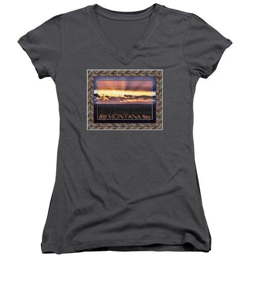 Women's V-Neck T-Shirt (Junior Cut) featuring the photograph Big Montana Sky by Susan Kinney
