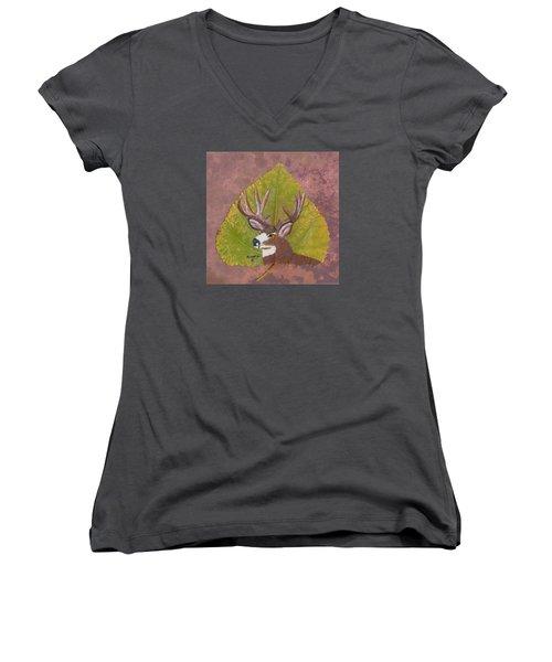 Big Mule Deer Buck Women's V-Neck T-Shirt (Junior Cut) by Ralph Root