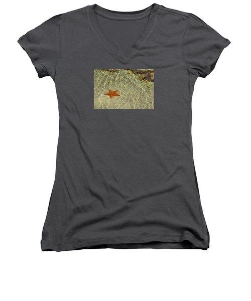Big Red Star Women's V-Neck T-Shirt (Junior Cut) by JAMART Photography