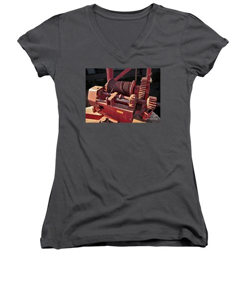 Women's V-Neck T-Shirt (Junior Cut) featuring the photograph Big Red Winch by Stephen Mitchell