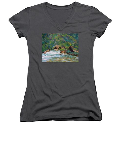Big Spring On The Current River Women's V-Neck T-Shirt (Junior Cut) by Jan Bennicoff