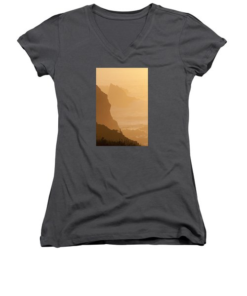 Big Sur Sunset Women's V-Neck (Athletic Fit)
