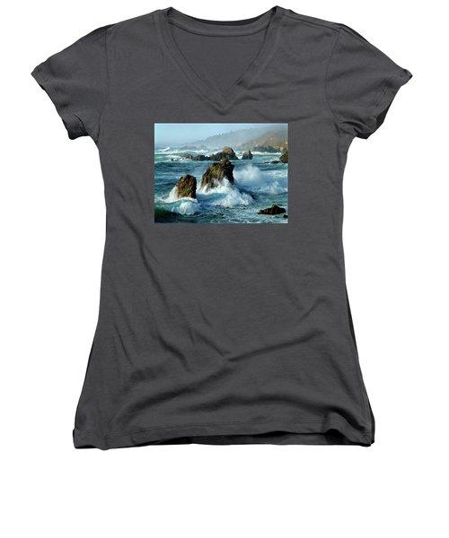 Big Sur Winter Wave Action Women's V-Neck T-Shirt (Junior Cut) by Amelia Racca