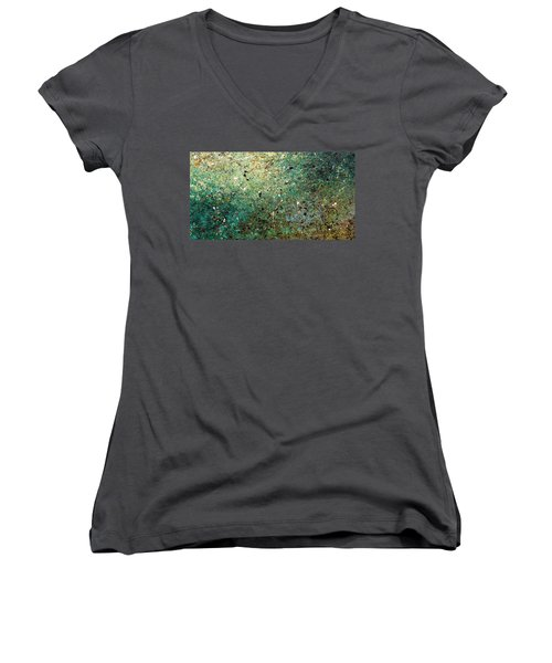 Women's V-Neck T-Shirt (Junior Cut) featuring the painting Big Universe - Abstract Art by Carmen Guedez