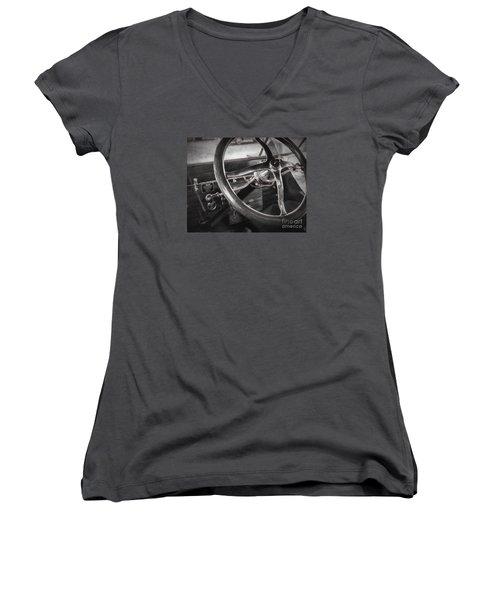 Big Wheel Women's V-Neck T-Shirt (Junior Cut) by JRP Photography