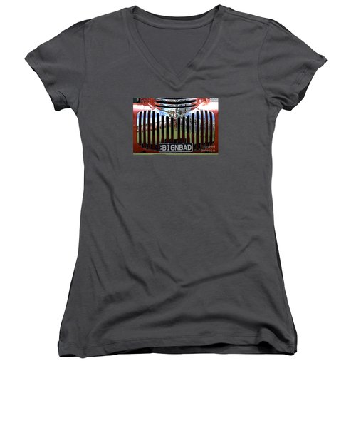 Bignbad Chevrolet Grille 01 Women's V-Neck T-Shirt (Junior Cut) by Rick Piper Photography