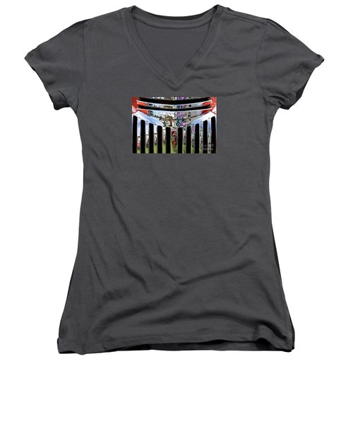 Chevrolet Grille 02 Women's V-Neck T-Shirt (Junior Cut) by Rick Piper Photography