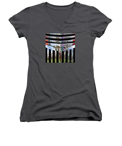 Chevrolet Grille 03 Women's V-Neck T-Shirt (Junior Cut) by Rick Piper Photography