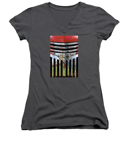 Chevrolet Grille 04 Women's V-Neck T-Shirt (Junior Cut) by Rick Piper Photography