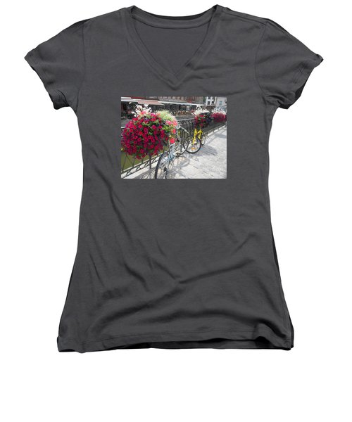 Bike And Flowers Women's V-Neck T-Shirt (Junior Cut) by Therese Alcorn