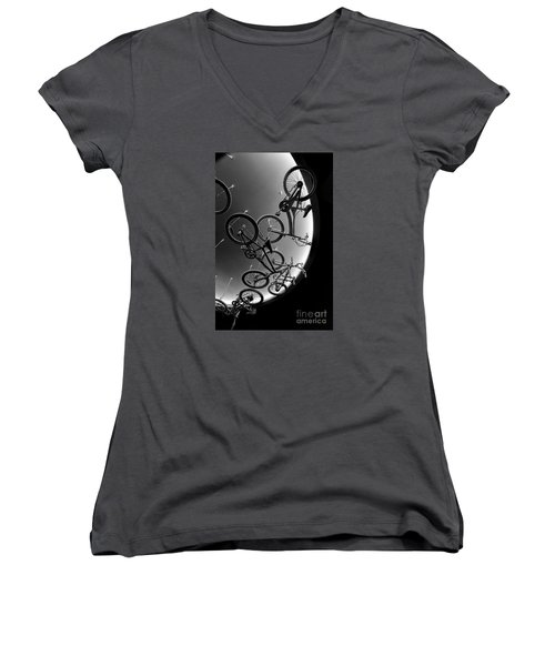 Women's V-Neck T-Shirt (Junior Cut) featuring the photograph Bike Dreams by Trey Foerster