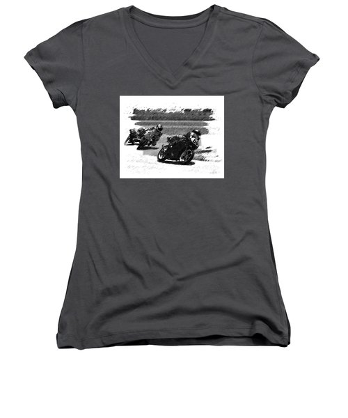 Biker Race Women's V-Neck (Athletic Fit)