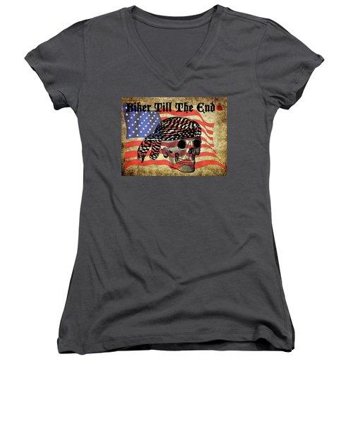 Biker Skull American Flag Old Paper Art Women's V-Neck T-Shirt