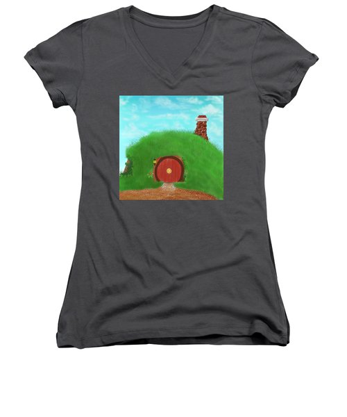 Bilbo's Home In The  Shire Women's V-Neck T-Shirt (Junior Cut) by Kevin Caudill