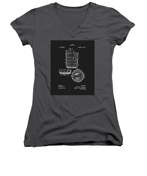 Women's V-Neck T-Shirt (Junior Cut) featuring the mixed media Billiards Table Pocket Patent by Dan Sproul