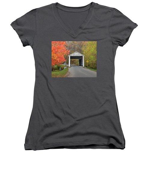 Women's V-Neck T-Shirt (Junior Cut) featuring the photograph Billie Creek Covered Bridge by Harold Rau