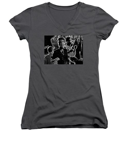 Billie Holiday Women's V-Neck T-Shirt (Junior Cut) by Charles Shoup
