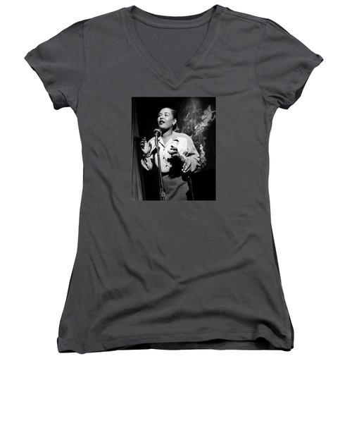 Billie Holiday  New York City Circa 1948 Women's V-Neck T-Shirt (Junior Cut) by David Lee Guss